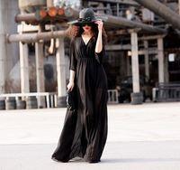 New 2014 spring summer women vintage fashion black chiffon long dress floor length flare sleve beach bohemian brand sexy dresses