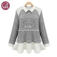 Wholesale women's 2014 spring long sleeve lapel Slim flounced chiffon stitching knit Blouse sweater shirts Free shipping