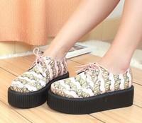 printed orange Japan Harajuku flat platform punk shoes Round toe Lace-up Lemon Silks Satins Pink Creepers Women Boat Shoes Z99