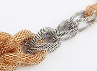 Free shipping!!!Zinc Alloy Jewelry Necklace,fashion brand, with 2cm extender chain, plated, mesh chain & two tone, nickel