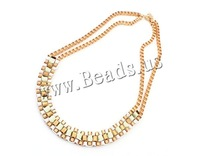 Free shipping!!!Zinc Alloy Jewelry Necklace,Womens Jewelry Fashion, with Satin Ribbon, gold color plated, box chain, nickel