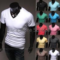 2014 New Free shippimng Casual Men tshirt Solid color  V neck  short sleeve T-shirts M/L/XL/XXL for t shirt