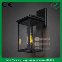 Rh loft2 Modern Brief Gun Black Color Ofhead Light Box Glass Wall Lamp Vintage Industrial Lighting Fixture Shipping Free