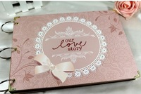 New 2014 free ship diy photo album handmade baby memorial lovers valentine day gift corner posts pen scrapbooking photo frame