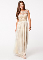 2014 New Summer Winter Dresses women Sleeveless White Crochet Top Chiffon Sexy Halter Maxi Dress Party Long dress D03