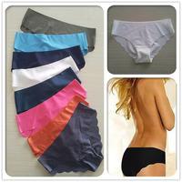 Free Shipping Women Briefs Seamless Panties Candy Color Low Waist Sexy Panties 3pcs/lot  S M L XL N01