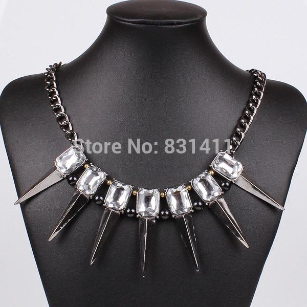 Gun Metal Bohemian Exaggerate Spike Pendant Necklcae 2014 New Fashion Jewelry Free Shipping(China (Mainland))