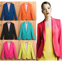 New Spring 2014 Tops blazer women candy coat jacket Foldable outerwear coats jackets one button basic jacket suit blazers