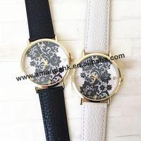 100pcs/lot New Fashion Women Dress Wrist Watches Decoration Black Floral Lace Print Watches High Quality Personalized Watch