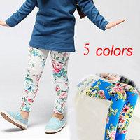 New 2014 kids Leggings for girls hot floral print girls summer leggings candy color 5-13 year old girls skinny pants wholesale