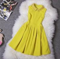 2014 New Spring Autumn Winter Women's Dresses Yellow Blue Beading Collar Ball Gown Sleeveless Fashion Vintage Brand Event Dress