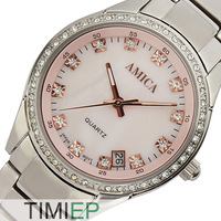 AMICA Women Dress Watches Pink Dial Women Rhinestone Watches Ladies Full Steel Watch