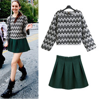 Fashion Skirt Set 2014 Spring The Wave Pattern Special Geometric Rrint Sweater Suit For Women With Yellow Skirts Wholesale 9879