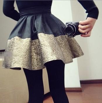Женщины saia  2014 summer spring Модный Pleated Черный Золотоen patchwork ball Gown ...