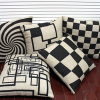"""Free shipping high quality invisible zipper linen cushion cover/pillow cover/ throw pillow cover  """"abstract painting"""" 45*45cm"""