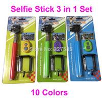 DHL 20sets (20pcs monopod +20pcs clip holder)Selfie Rotary Extendable Handheld Camera Tripod Mobile phone Monopod