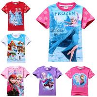 Boy Girl Frozen T-shirt Cute Anna Elsa Olaf Tshirts Short Sleeve T Shirt Children Kids Summer Tees Clothing Free Drop Shipping