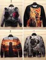 2014 High quality 3D Print Animal King Glass Cat Pug Printing Sweatshirt