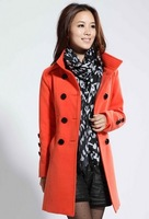 The new spring 2014 women's wool coat jacket / ladies long coat windbreaker / m-xxl large size women's coat