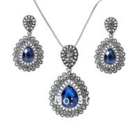 Free Shipping 2014 New Fashion Necklace/Earrings Make With Austria Elements Crystal Set  NK027EK027-Blue