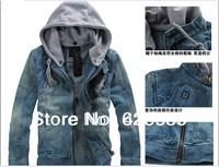 2014 new Mens jeans wear Chaqueta coats Fashion streetwear casual cowboy jacket men Hooded jackets high quality for man.outwear