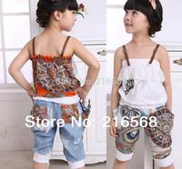 Free shipping Summer chiffon vest sets baby girl set Spaghetti Strap t-shirt+harem pants children clothing casual sport suits