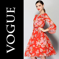 High-end Women Long Sleeve Flower Printed Dress Female Lady Flared Sleeve With Belt 2014 Runway Spring Summer America European
