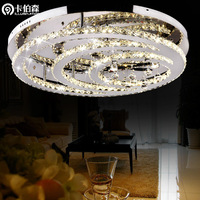 free shipping Modern crystal led circle lamps brief living room lights ceiling light stainless steel lighting 81025