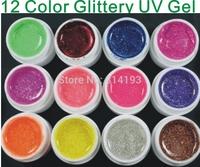 12 Color GLITTERY GLITTER UV GEL Builder NAIL ART Polish Set Tips Kit