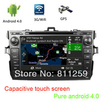 Pure android 4 car radio for toyota corolla 2006-2011 with capacitive touch screen 1g memory