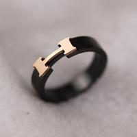 Hot Selling! Fashionable Star Same Style Popular Black H Shape 18K Rose Gold Titanium Steel Rings, Free Shipping