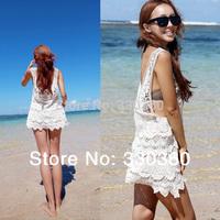 New 2014 Celebrity Style Womens Vintage Floral Boho Crochet Sexy Lace Bikini Swimwear Cover Up Beach Dress Free Shipping