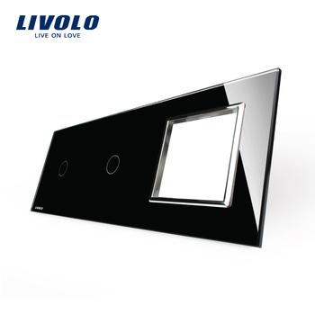 , Livolo Luxury Black Crystal Glass, 223mm*80mm, EU standard, 1+1Gang&1 Frame ...