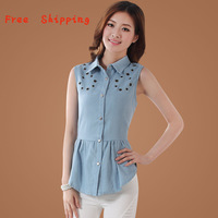 Free Shipping!2014 Newest  Women Denim Blouse Shirt ,Sleeveless and Turn-down Collar,Cheapest!