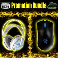 Promotion Bundle, Razer Deathadder 3500DPI + Steeleeries Siberia Frostblue, Brand New Free Shipping