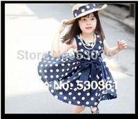 New 2014 1pcs retail chiffon woven navy/white cute knee length princess casual girl dress