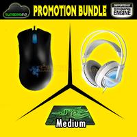 Promotion Bundle, Razer Deathadder 3.5G +Razer Goliathus 2013 Medium SIze+Steeleeries Siberia Frostblue, Brand New Free Shipping