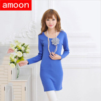 Amoon / Women 2014 Spring Autumn Casual Hot Sale Solid Cotton Dress/ Free Size/ 6 Colors