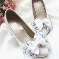 Handmade wedding shoes full rhinestone pearl bow white bridal shoes bridesmaid dress shoes middle low high heel wedding shoes