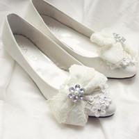 Flat white Wedding shoesluxury elegant bow decoration beads flower ornament 2014 newest  lace rhinestone bow shoes wedding shoes