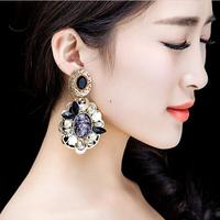 new 2014 Baroque style black hollow resin rose earrings high-end luxury crystal bijouterie dangle earrings brand earrings