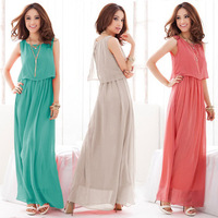 2014 New Arrival Summer Bohemian Women Chiffon Long Ankle-Length Dresses Sleeveless Vest Dress Vestidos, 4 Color, S, M, L, XL
