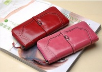 Qulified Genuine Leather women's five section of the multi-card wallet Retro purse.fashion Clutch Bag