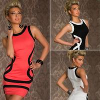 2014 Summer New Sexy Women Lady Clubwear Vest Sheath Mini Dress Vestidos, 3 Color, M, XXL