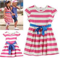 Spring New 100% cotton 2014 summer little girl dress sleeveless Striped dresses  children clothing cheap girl dresses