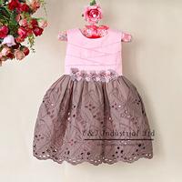 New 2014 Girl Dress Pink And Grey Girls Summer Dress Flower Belt Baby Dress Princess Children Clothing Free Shipping