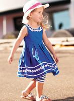 Spring New 5pcs/lot 2014 New baby girl sunflower girl dress 100% cotton girl birthday party princess dresses children clothing