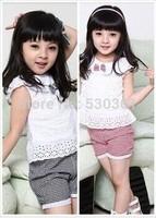 Kids Clothing Set New 2015 Summer Lace Children Girl Clothes Set T Shirt And Lattice shorts Pants 2 Colors Infant Garment