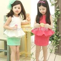 Hu sunshine Retail new 2014 summer girls white green ruffles sleeveless t-shirt + skirt clothing set kids clothes sets outfits