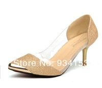 35 -40 size  3 color 2014 big-name stars fluorescence pointed high-heeled shoes transparent fashion footwear clown